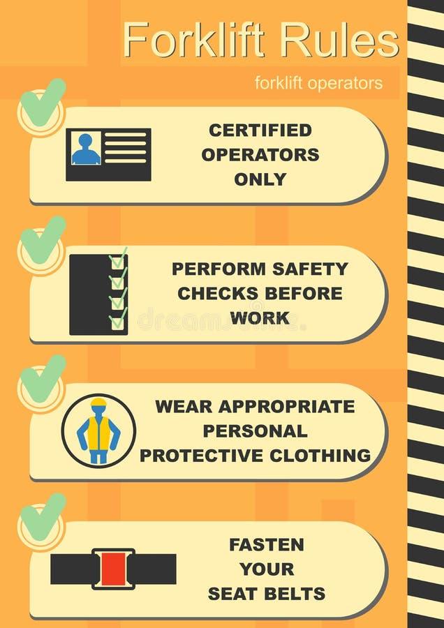 Reglas de la seguridad de la carretilla elevadora libre illustration