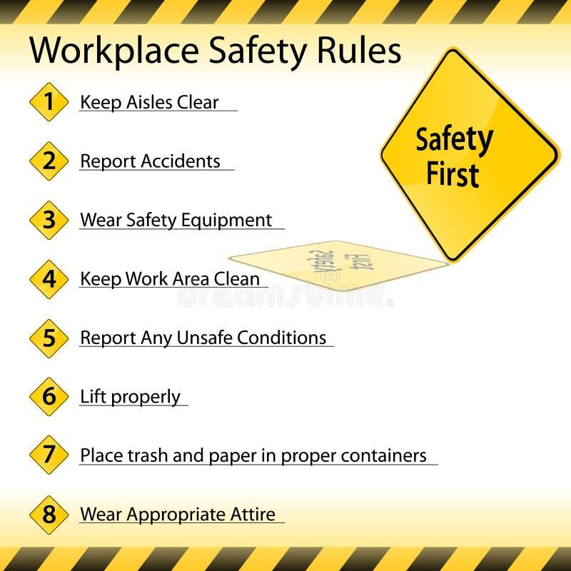 Reglas de la seguridad del lugar de trabajo stock de ilustración