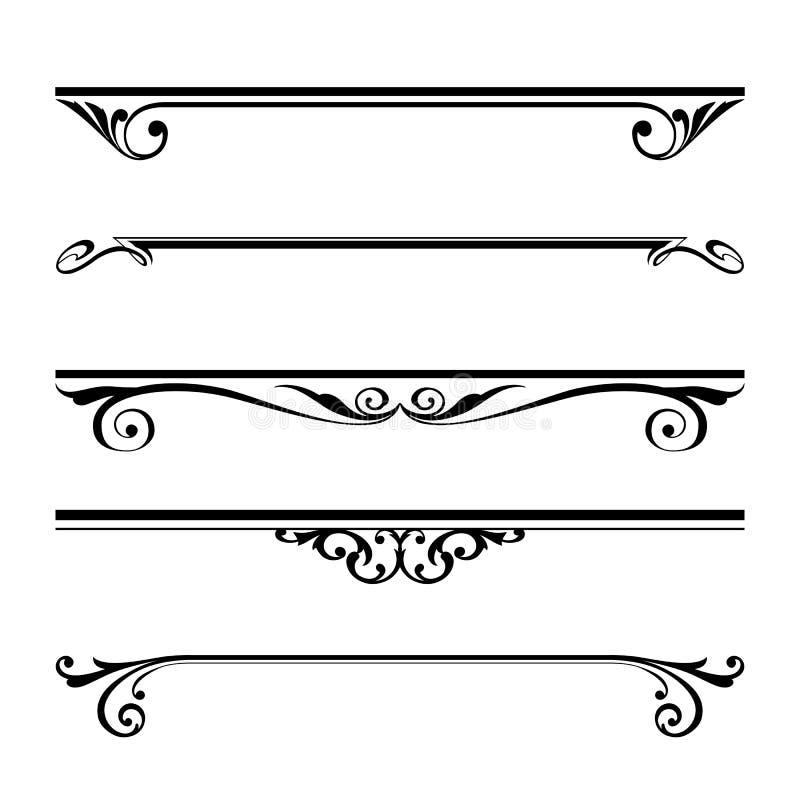 Reglas decorativas de los elementos, de la frontera y de la página stock de ilustración