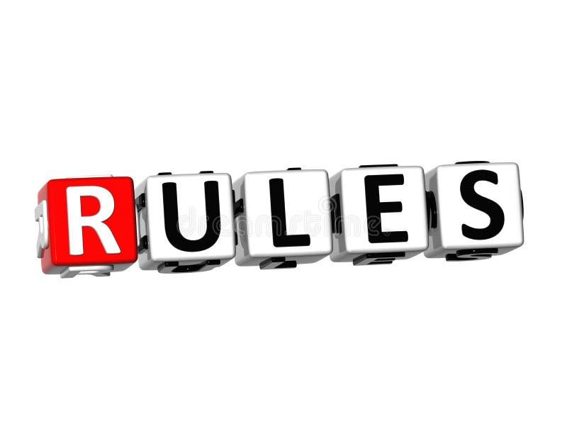 regler för ord 3D på vit bakgrund stock illustrationer