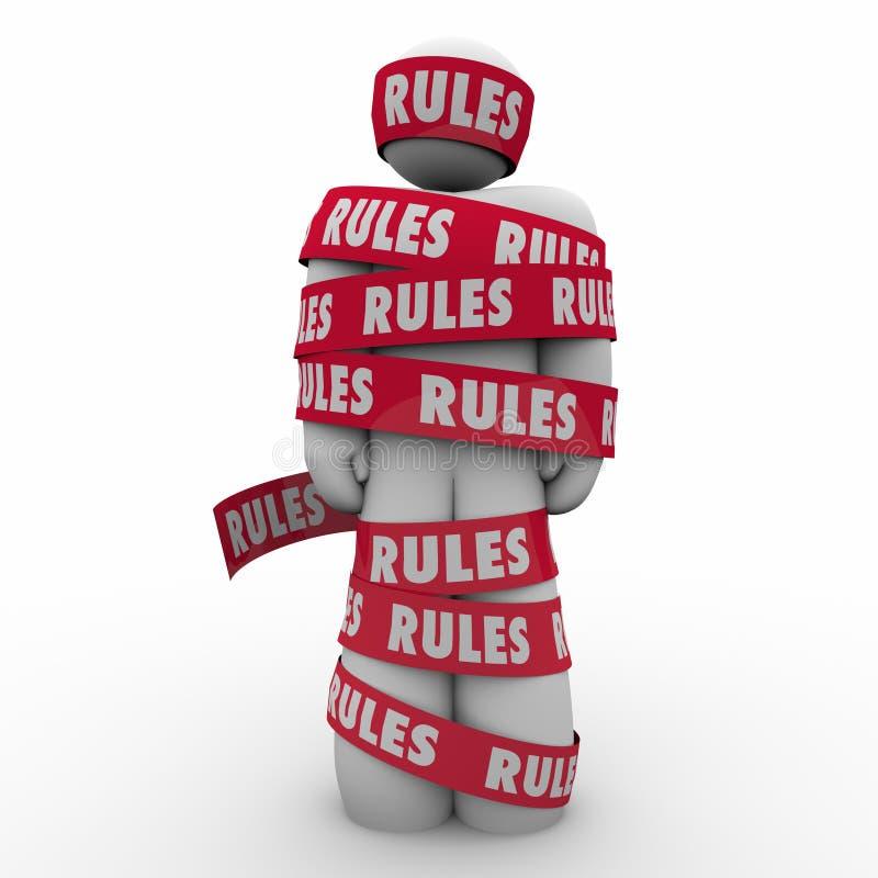 Regler Man slågen in bandregleringsöverensstämmelse följer lagar Guidanc royaltyfri illustrationer