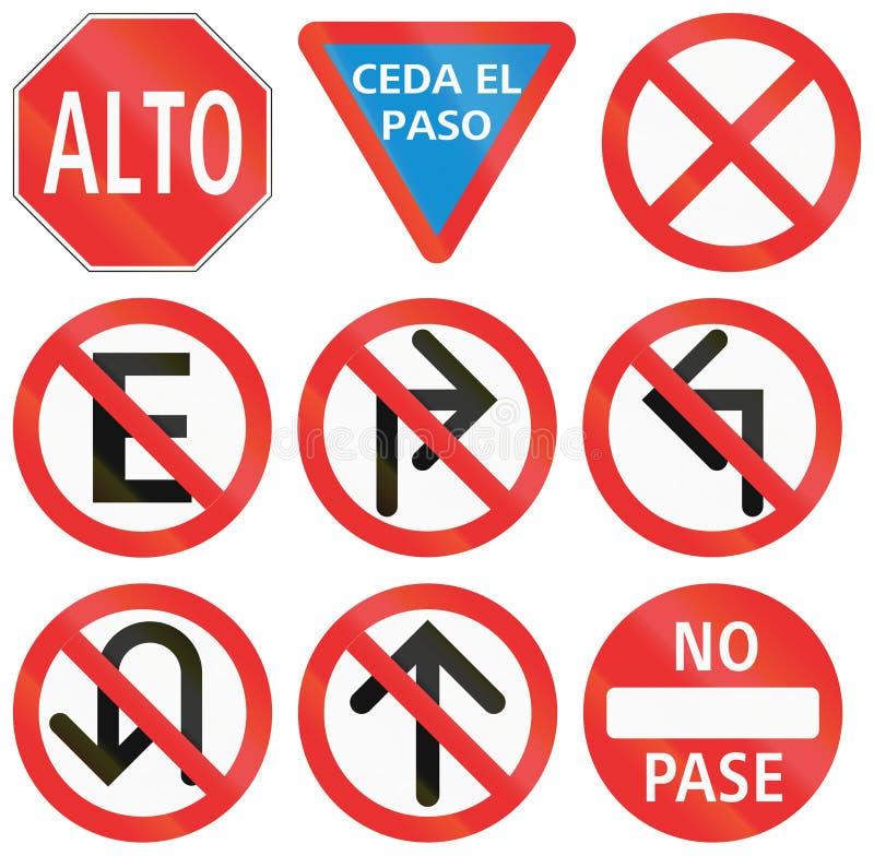Reglerande vägmärken i Mexico royaltyfri illustrationer
