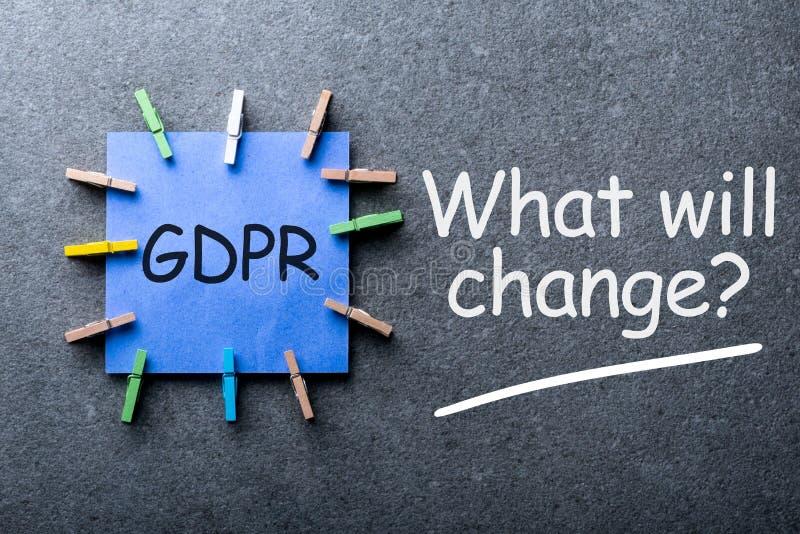 Reglering för skydd för allmänna data eller GDPR-överensstämmelse - vad ska ändra - fråga på mörk bakgrund royaltyfri fotografi