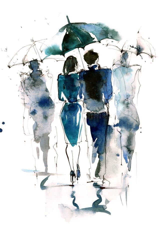 regn royaltyfri illustrationer