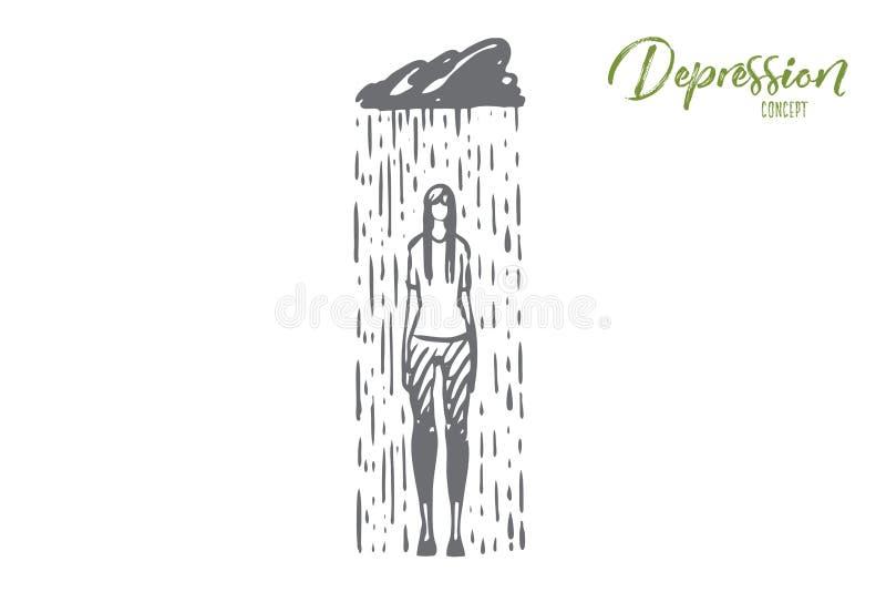 Regn fördjupning, kvinna som är ledsen, spänningsbegrepp Hand dragen isolerad vektor vektor illustrationer