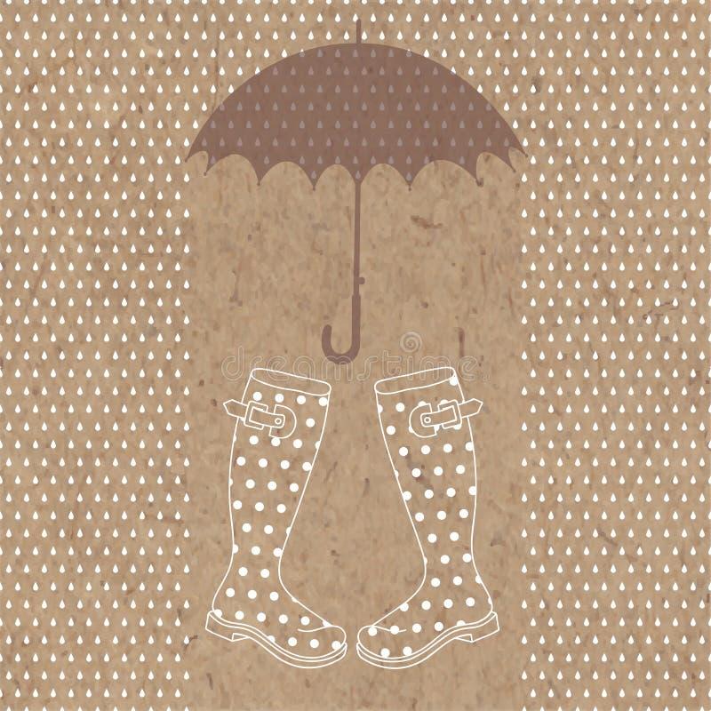 Regn, gummistöveler och paraply Vektorillustration på kraft lodisar stock illustrationer