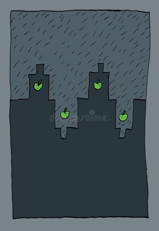 Regn i en nordlig stad stock illustrationer