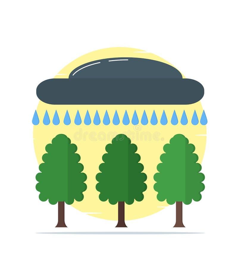 Regn moln, hällregn, regnig säsong, träd royaltyfri illustrationer
