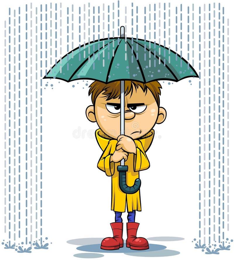 Regn- och paraplytecknad filmillustration stock illustrationer