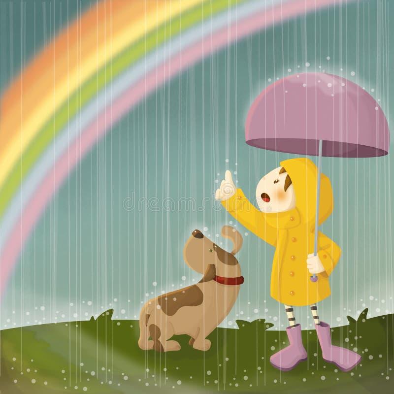Regn och regnbåge royaltyfri illustrationer