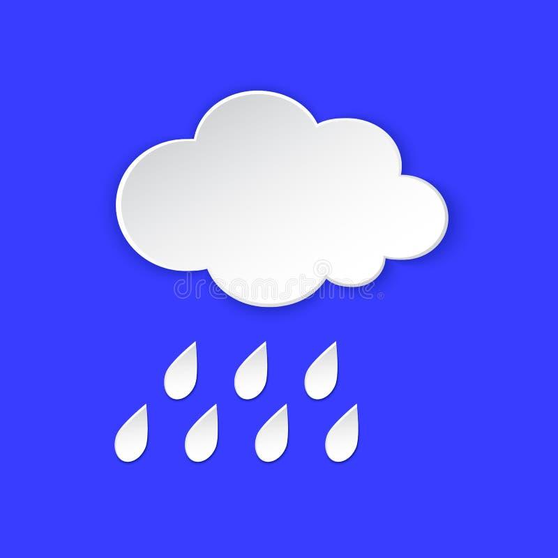 Regn symbol för information om molnväderprognos Regnig molnig dag pappers- snitt Klimatväderbeståndsdel Etikett för den Metcast r stock illustrationer