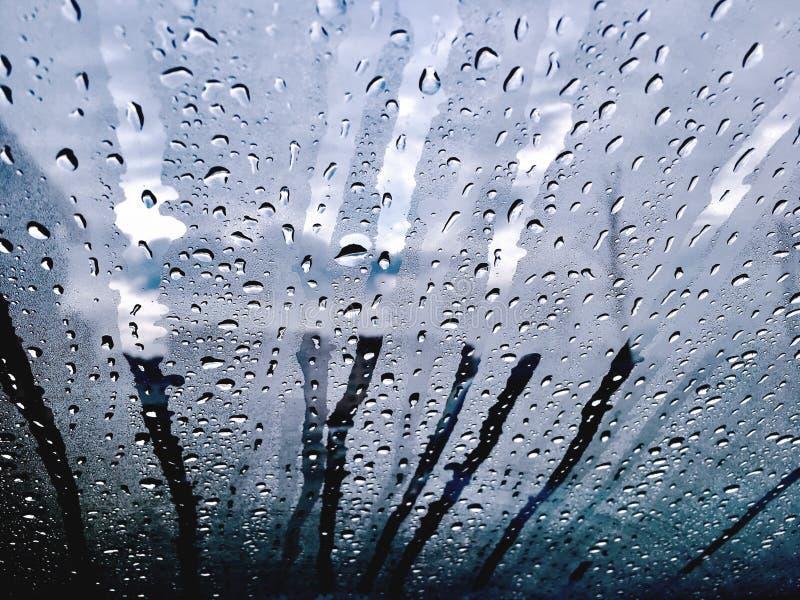 Regn tappar flödesfönstret royaltyfria bilder
