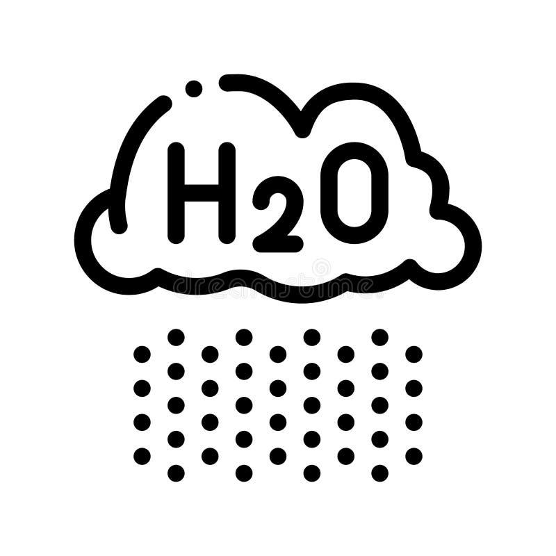 Regna för regnvektor för moln H2O den tunna linjen teckensymbol royaltyfri illustrationer