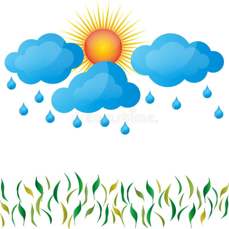 Regna, fjädra, solen, moln, gräs stock illustrationer