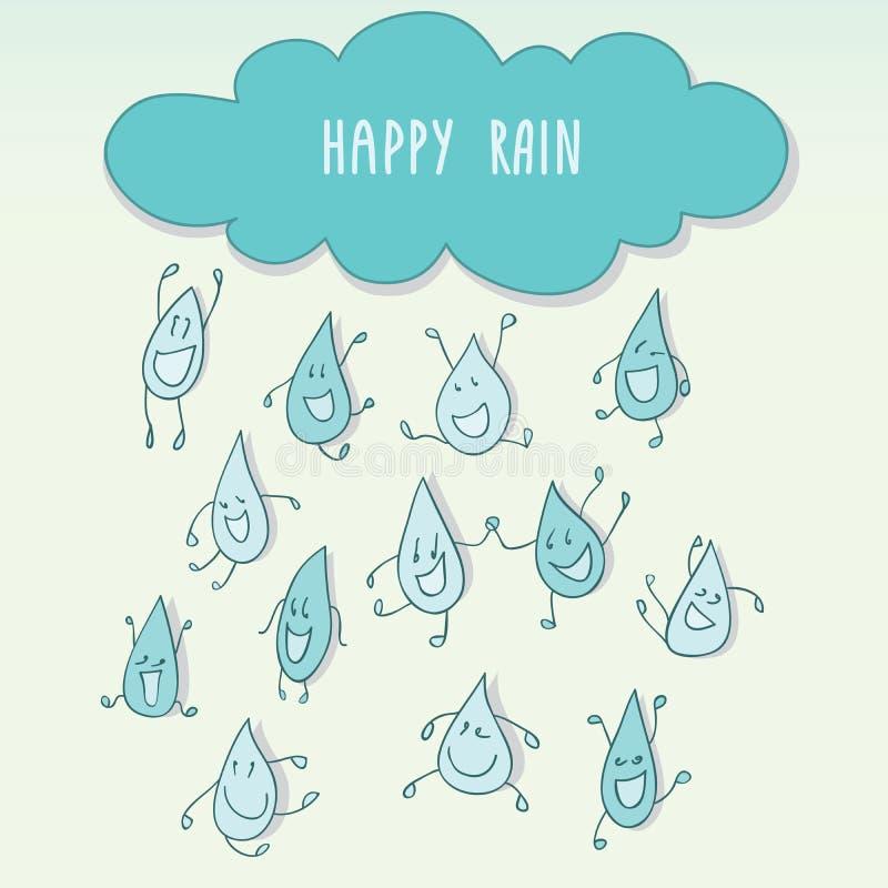 Regna med lyckliga roliga regndroppar vektor illustrationer