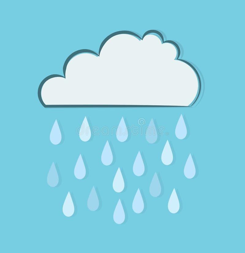Regna molnet i blått ky stock illustrationer