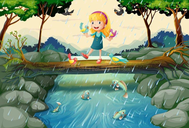 Regna plats med flickan på bron stock illustrationer
