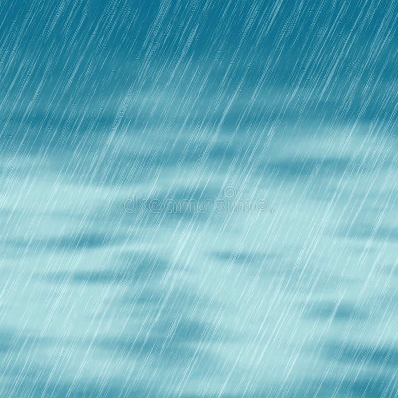 Regna stormbakgrunder i molnigt väder med grönt gräs vektor illustrationer
