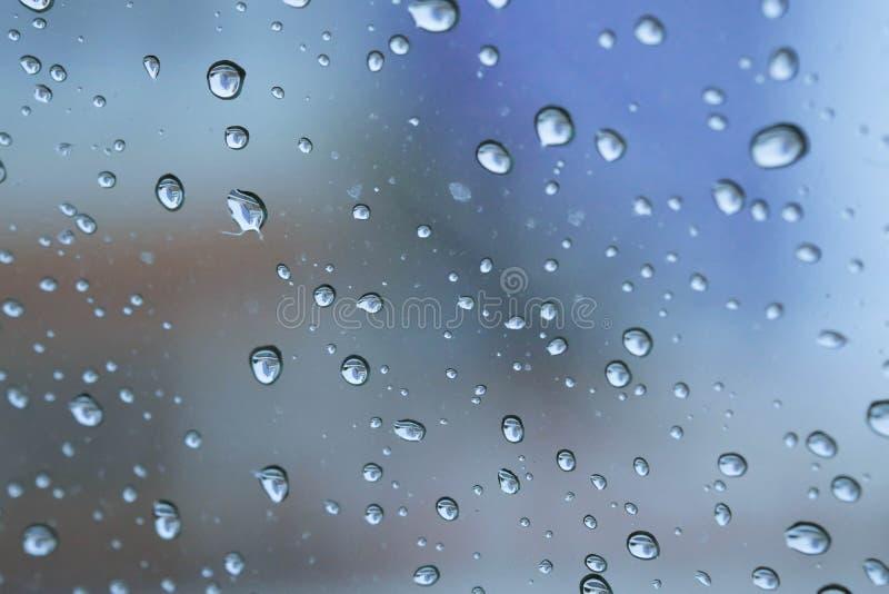 Regna tappar på ett fönster royaltyfria bilder