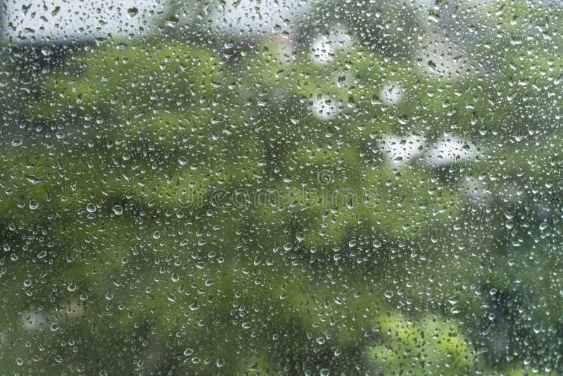 Regna/vattendroppe av regn p? exponeringsglas med utomhus- bakgrund arkivfoto