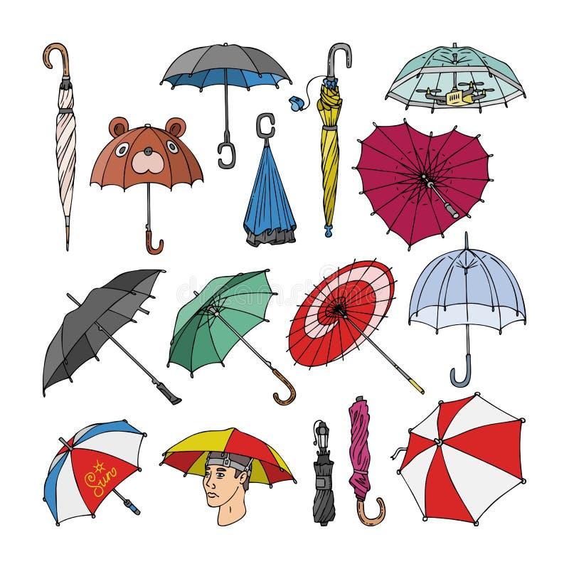 Regnade öppet paraply-format regnigt skydd för paraplyet vektorn och den färgrika uppsättningen för slags solskyddtillbehörillust vektor illustrationer