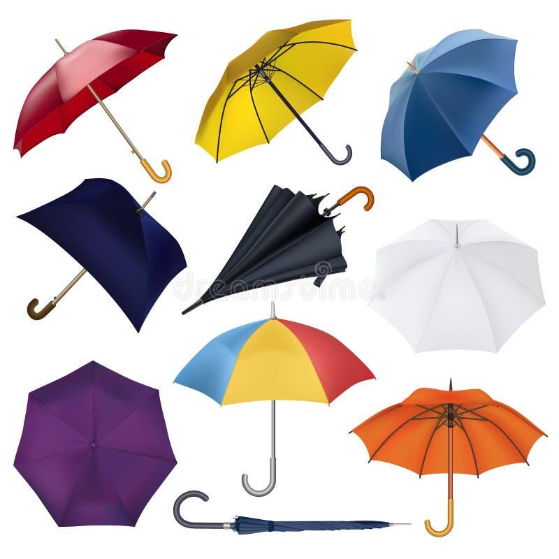 Regnade öppet paraply-format regnigt skydd för paraplyet vektorn och uppsättningen för illustration för colorfullslags solskydd d stock illustrationer