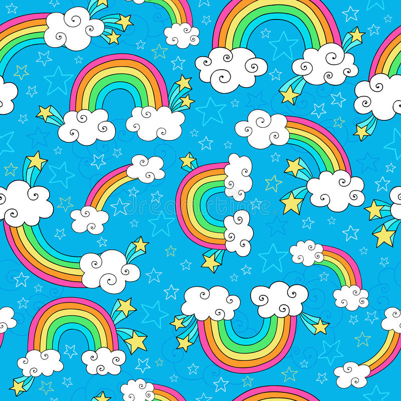 Regnbågen klottrar Seamless mönstrar vektorn royaltyfri illustrationer