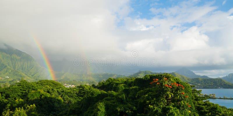 Regnbåge över den Kaneohe fjärden royaltyfri fotografi