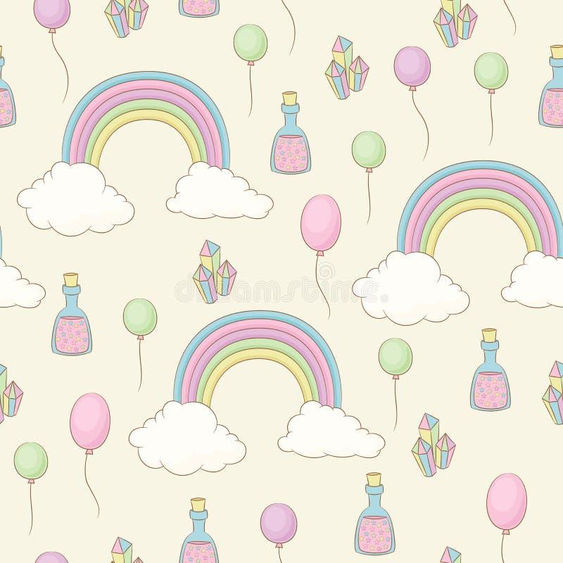 Regnbåge, ballonger, felikt damm och sömlös modell för kristaller stock illustrationer