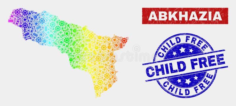 Regnbåge färgad produktivitetsAbchazien översikt och skrapade fria skyddsremsor för barn vektor illustrationer