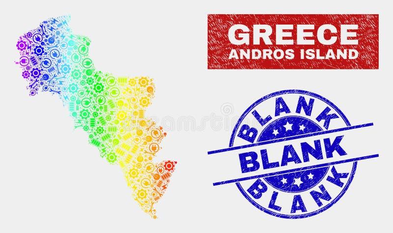 Regnbåge färgad produktivitetsAndros ö av den Grekland översikten och skrapade tomma vattenstämplar vektor illustrationer