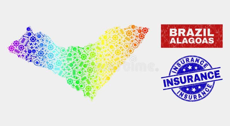 Regnbåge färgade stämplar för försäkring för översikt och för nödläge för produktivitetsAlagoas tillstånd stock illustrationer
