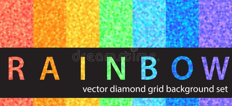 Regnbåge för diamantmodelluppsättning Sömlösa geometriska bakgrunder för vektor stock illustrationer