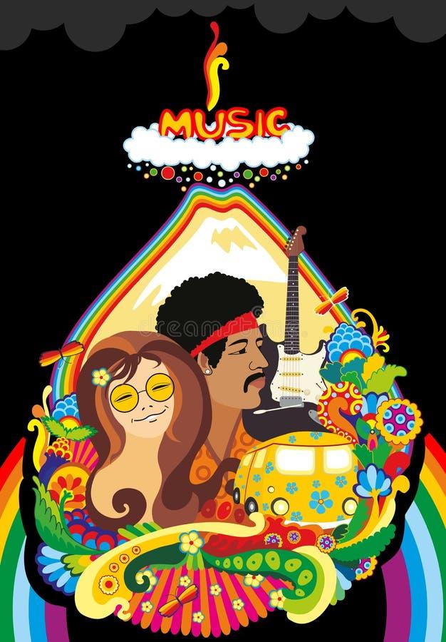 regnbåge för framsidamusikväxt stock illustrationer