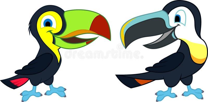 Regnbåge-fakturerade och kanal-fakturerade tukan för gullig tecknad film för vektor två stock illustrationer