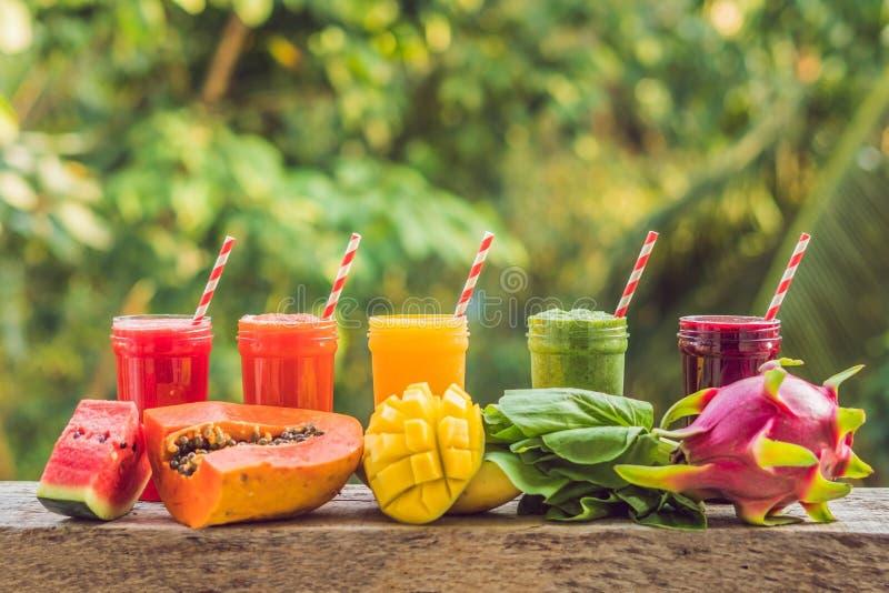 Regnbåge från smoothies Vattenmelon, papayaen, mango, spenat och draken bär frukt Smoothies fruktsafter, drycker, drinkar arkivbild