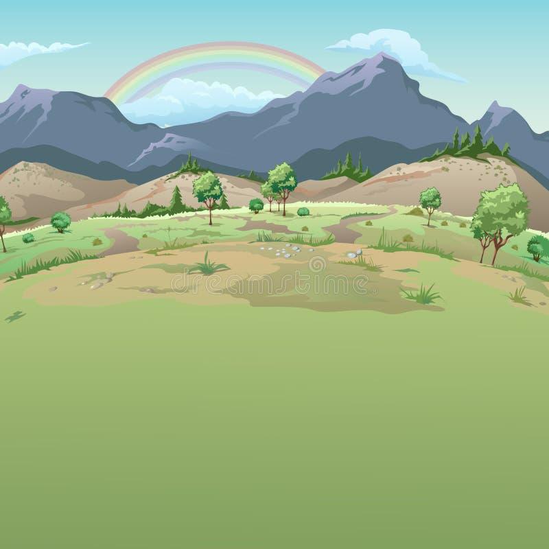 Regnbåge i bergen Prövkopiakorten på bra väder med utrymme för din text också vektor för coreldrawillustration royaltyfri illustrationer