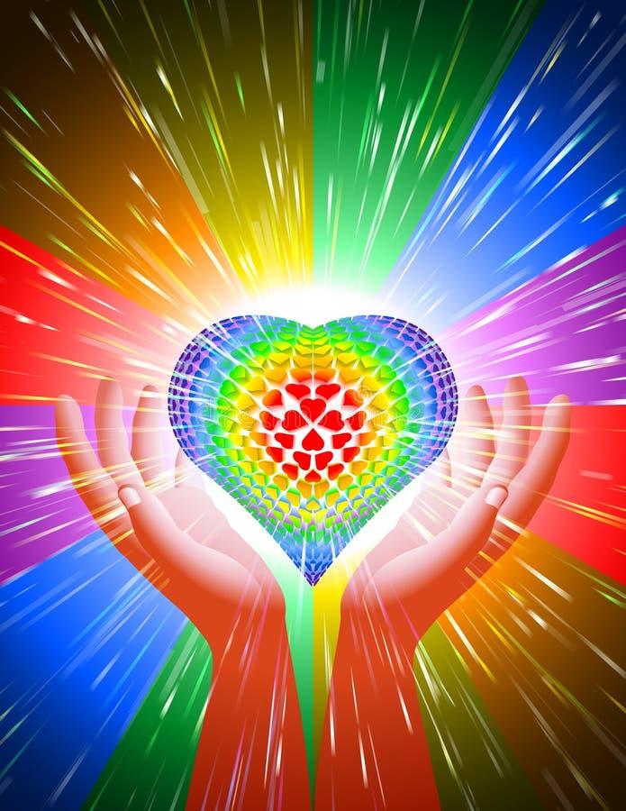 Regnbåge LGBT för bakgrund för förälskelse för magisk makt för ljus stråle för handhjärta royaltyfri illustrationer