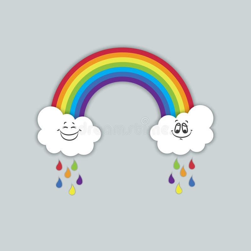 Regnbåge med vitmoln och nätta smileys vektor stock illustrationer