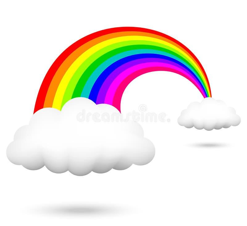Regnbåge och moln stock illustrationer