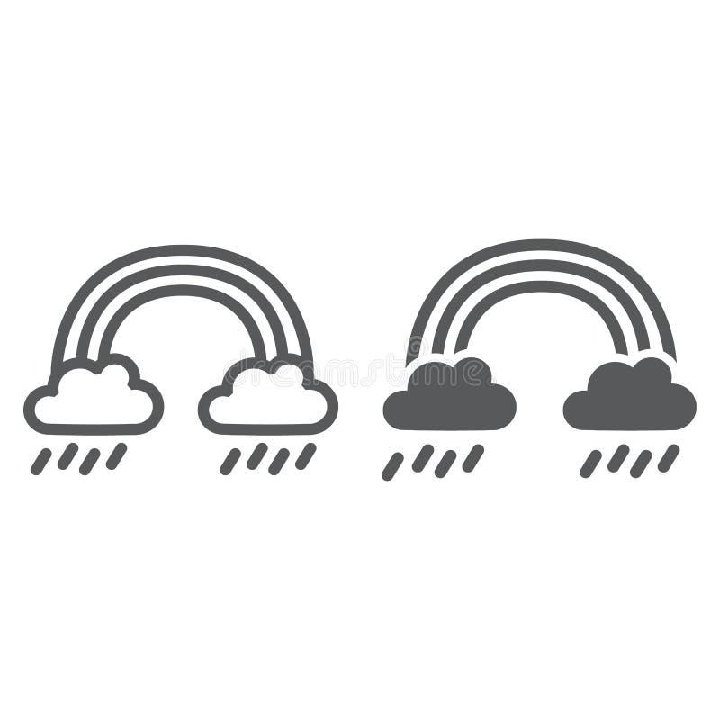 Regnbåge- och regnlinje och skårasymbol, väder och natur, regnigt tecken, vektordiagram, en linjär modell på ett vitt vektor illustrationer