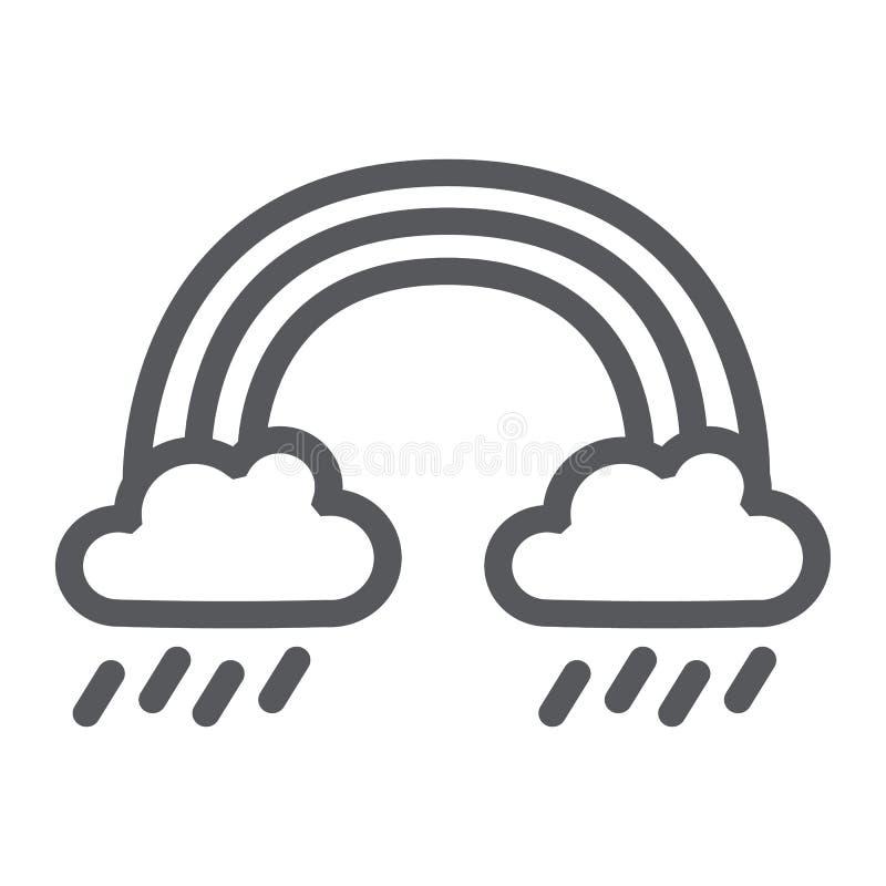 Regnbåge- och regnlinje symbol, väder och natur, regnigt tecken, vektordiagram, en linjär modell på en vit bakgrund vektor illustrationer