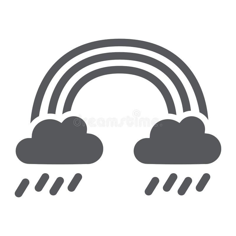 Regnbåge- och regnskårasymbol, väder och natur, regnigt tecken, vektordiagram, en fast modell på en vit bakgrund stock illustrationer