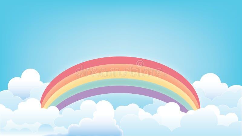 Regnbåge på den klara himmelillustrationen stock illustrationer