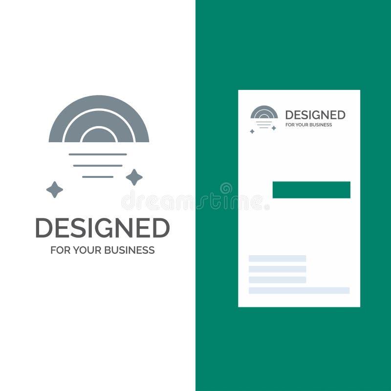 Regnbåge regnigt, himmel, väder Grey Logo Design och mall för affärskort stock illustrationer