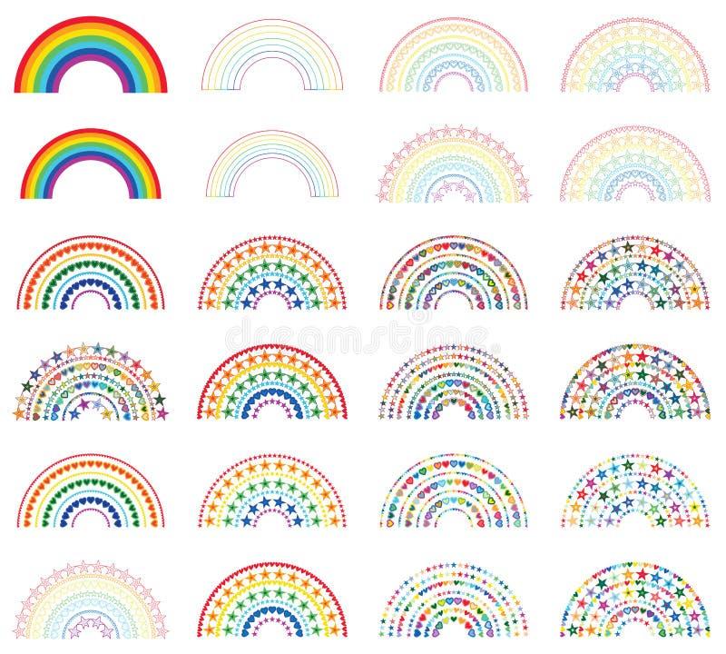 Regnbåge som är halv med den färgrika uppsättningen för förälskelsestjärna royaltyfri illustrationer