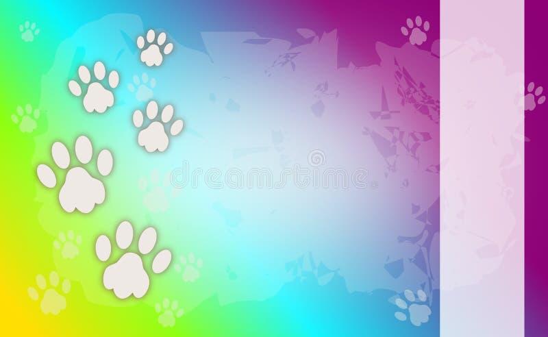 Regnbågebakgrund med hunden tafsar vektor illustrationer