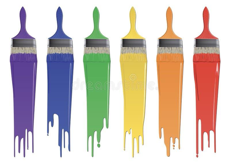 Regnbågefärgborstar med målarfärg stock illustrationer