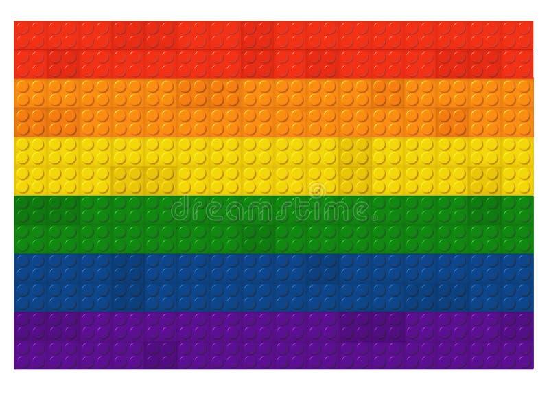 Regnbågeflagga LGBTQ i Lego Blocks vektor illustrationer