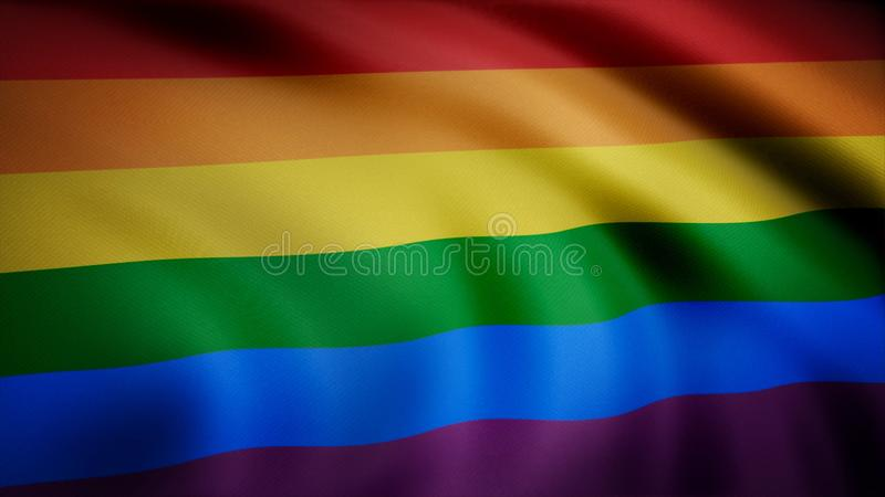 Regnbågeflaggan för glad stolthet som vinkar i ultrarapid som sömlöst kretsas, slut upp, på den alfabetiska kanalen med svart och royaltyfri bild